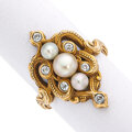 Estate Jewelry:Rings, Art Nouveau Cultured Pearl, Diamond, Gold Ring. ...