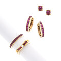 Estate Jewelry:Suites, Ruby, Diamond, Gold Jewelry Suite. ... (Total: 4 Items)