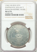 So-Called Dollars, (1962) Medal Continental Dollar, Bashlow Restrike, Silver, HK-852A, MS67 Prooflike NGC. NGC Census: (18/2). PCGS Population...