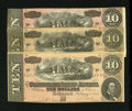 Confederate Notes:1864 Issues, Trio of T68's - $10 1864.. ...