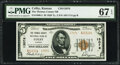 National Bank Notes:Kansas, Colby, KS - $5 1929 Ty. 2 The Thomas County National Bank Ch. # 13076 PMG Superb Gem Unc 67 EPQ.. ...