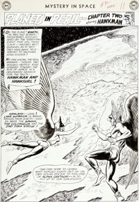 Murphy Anderson Mystery in Space #90 Splash Page 9 Hawkman and Hawkgirl Original Art (DC, 1964)