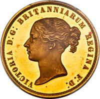 """Great Britain: Victoria gold Proof """"Una and the Lion"""" 5 Pounds 1839 PR63 Deep Cameo PCGS"""