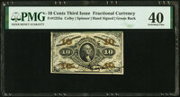 Fr. 1255a 10¢ Third Issue Hand Signed Green Back PMG Extremely Fine 40