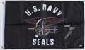 Autographs:Others, Navy SEAL Robert O'Neil Signed Navy Seal Flag - Inscribed ...
