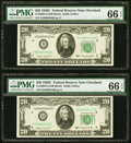 Fr. 2062-D $20 1950C Federal Reserve Notes. Two Examples. PMG Gem Uncirculated 66 EPQ. ... (Total: 2)