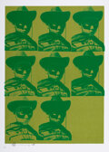 Prints & Multiples, Paul Insect (b. 1971). Multiple Mugshot (Green), 2006. Screenprint in colors on paper. 27-1/2 x 19-5/8 inches (69.9 x 49...