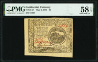Continental Currency May 9, 1776 $4 PMG Choice About Unc 58 EPQ