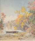 Paintings, Jasper Francis Cropsey (American, 1823-1900). Autumn on the Lake, 1892. Watercolor on paper . 13-1/2 x 11-1/4 inches (34...