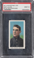 Baseball Cards:Singles (Pre-1930), 1910-11 M116 Sporting Life Napoleon Lajoie (Blue Background) PSA Mint 9 - Pop One, None Higher! ...