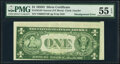 Error Notes:Miscellaneous Errors, Misaligned Back Printing Error Fr. 1613N $1 1935D Narrow Silver Certificate. PMG About Uncirculated 55 EPQ.. ...