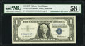 Error Notes:Mismatched Serial Numbers, Mismatched Serial Numbers Error Fr. 1619 $1 1957 Silver Certificate. PMG Choice About Unc 58 EPQ.. ...