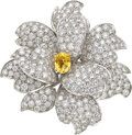 Estate Jewelry:Brooches - Pins, Yellow Sapphire, Diamond, Gold Brooch. ...