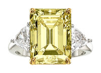 Fancy Yellow Diamond, Diamond, Platinum, Gold Ring