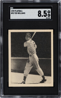 1939 Play Ball Ted Williams #92 SGC NM-MT+ 8.5 - Pop Four, None Higher