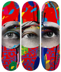 Paul Insect (b. 1971) I See 1, 2, & 3 (set of 3), 2020 Screenprint in colors on skate decks 32 x