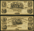 Obsoletes By State:Michigan, Monroe, MI- Merchants & Mechanics Bank of the City of Monroe $5; $10 18__ Remainders Extremely Fine-About Uncirculated.... (Total: 2 notes)