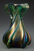 Glass, Kralik Pull and Buttress Glass Vase, circa 1900. 7-1/2 inches (19.1 cm). ...