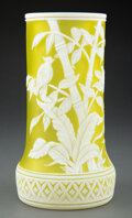 Glass, Thomas Webb & Sons Cameo Glass Bamboo Vase, late 19th century. 9 inches (22.9 cm). ...