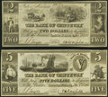 Obsoletes By State:Michigan, Sault De St. Marys, MI- Bank of Chippeway $2; $5 Jan. 3, 1838 Crisp Uncirculated.. ... (Total: 2 notes)