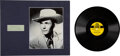 "Music Memorabilia:Autographs and Signed Items, Hank Williams Sr. Signed and Inscribed Paper With 78 of ""Lovesick Blues""/""Never Again"" (MGM 10352). ... (Total: 2 Ite..."