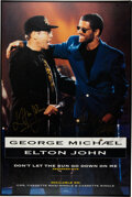 """Music Memorabilia:Autographs and Signed Items, George Michael/Elton John Signed """"Don't Let the Sun Go Down On Me"""" Promo Poster...."""