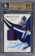 Football Cards:Singles (1970-Now), 2018 Immaculate Collection Lamar Jackson (Jersey Autograph) #116 BGS Gem Mint 9.5, Auto 10 - #'d 80/99. ...