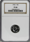 Proof Roosevelt Dimes: , 1952 10C PR68 NGC. NGC Census: (118/12). PCGS Population (27/0).Mintage: 81,980. Numismedia Wsl. Price for NGC/PCGS coin i...