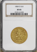 Liberty Eagles: , 1858-O $10 XF45 NGC. . NGC Census: (40/119). PCGS Population(35/66). Mintage: 20,000. Numismedia Wsl. Price for NGC/PCGS c...