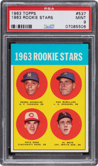 1963 Topps Pete Rose – 1963 Rookie Stars #537 PSA Mint 9 - Only One Higher