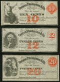 Obsoletes By State:Michigan, Jackson, MI- Unknown Issuer at Cooper, Thompson & Co. 10¢; 12¢; 20¢ Dec. 1, 1862 Remainders Extremely Fine-About Uncircula... (Total: 3 notes)