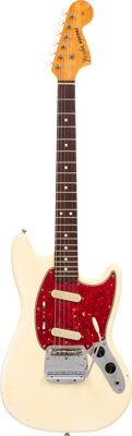 1966 Fender Mustang White Solid Body Electric Guitar, Serial #154977