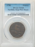 1786 COPPER New Jersey Copper, Straight Plow Beam, M. 15-T, W-4825, R.3, VF20 PCGS. PCGS Population: (0/0). NGC Census:...