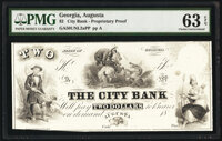 Augusta, GA- City Bank $2 18__ as G4b Proprietary Proof PMG Choice Uncirculated 63 EPQ