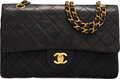 """Luxury Accessories:Bags, Chanel Vintage Black Quilted Lambskin Leather Medium Double Flap Bag with Gold Hardware. Condition: 4. 10"""" Width x 6"""" ..."""