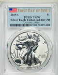 2019-S $1 Silver Eagle, Enhanced Reverse Proof, First Day of Issue, PR70 PCGS. PCGS Population: (380). NGC Census: (1386...