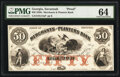 Obsoletes By State:Georgia, Savannah, GA- Merchants and Planters Bank $50 18__ as G14a Proof PMG Choice Uncirculated 64.. ...
