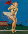Pin-Up and Glamour Art, Attributed to Gil Elvgren (American, 1914-1980). Cheering the Team. Oil on canvas laid on board. 26 x 21 inches (66.0 x ...