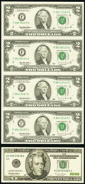 Fr. 1936-F $2 1995 Federal Reserve Notes. Uncut Sheet of Four. Choice CU; Low Numbered (00003808) Uncirculated $20 Note...