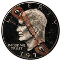 Errors, 1977-S $1 Eisenhower Dollar -- Struck Through & Retained Copper Staple -- PR67 Deep Cameo PCGS. An unusual error, struck th...