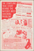 """Movie Posters:Exploitation, Unwed Mother (Allied Artists, 1958). Folded, Fine/Very Fine. One Sheet (26.5"""" X 40""""). Exploitation.. ..."""