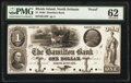 Obsoletes By State:Rhode Island, North Scituate, RI- Hamilton Bank $1 18__ G20 Proof PMG Uncirculated 62, POCs.. ...