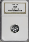 Proof Roosevelt Dimes: , 1954 10C PR67 NGC. NGC Census: (243/273). PCGS Population (406/68).Mintage: 233,300. Numismedia Wsl. Price for NGC/PCGS co...
