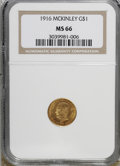 Commemorative Gold: , 1916 G$1 McKinley MS66 NGC. . NGC Census: (332/54). PCGS Population(581/55). Mintage: 9,977. Numismedia Wsl. Price for NGC...