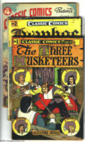 Golden Age (1938-1955):Classics Illustrated, Classic Comics Group (Gilberton, 1940s). Four early issues include #1 (The Three Musketeers - HRN 28 - FN), 2 (Ivanhoe... (Total: 4 Comic Books Item)