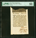 Colonial Notes:New York, New York May 31, 1709 5s PMG Choice Uncirculated 63.. ...