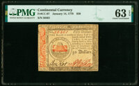 Continental Currency January 14, 1779 $50 PMG Choice Uncirculated 63 EPQ