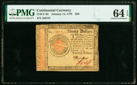 Continental Currency January 14, 1779 $20 PMG Choice Uncirculated 64 EPQ