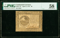 Continental Currency April 11, 1778 $6 PMG Choice About Unc 58