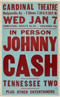 Johnny Cash & the Tennessee Two 1959 Kentucky Concert Poster